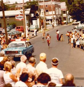 "Ric Rojas Approaching the Brewery on His Way to Victory in the First ""Boilermaker's Run"" in 1978"