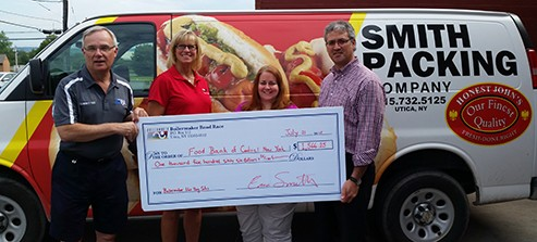 Boilermaker Road Race, Honest John's Hot Dogs and NY Beef Council Present Food Bank of Central New York with Check