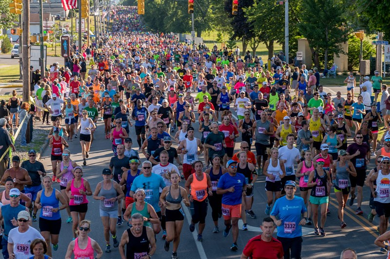 Aerial shot of runners during the 2018 Boilermaker Road Race.